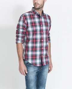 Camisa cuadros Zara hombre